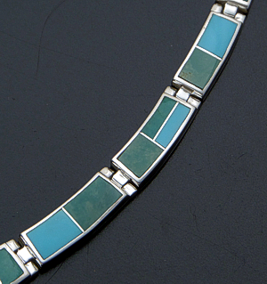 "Supersmith Inc. - David Rosales Designs - 17"" Pine Hill Inlay & Sterling Silver Graduated Rectangle Full Link Necklace #41155 Style N104 $1,015.00"
