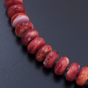 "Susan Teller (Navajo) - 18"" Red Spiny Shell Rondelle Bead Necklace #41468A $120.00"