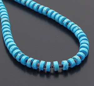 "Susan Teller (Navajo) - 17"" Turquoise Wheel & Shell Heishi Necklace #41487 $75.00"