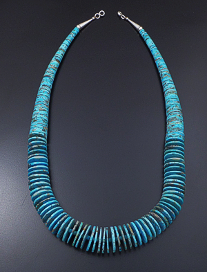 "Emery Calabaza (Santo Domingo) - 25"" Graduated Large Turquoise Heishi & Sterling Silver Necklace #41577 $950.00"