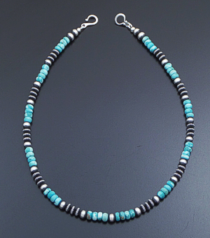 "Marilyn Platero (Navajo) - 18"" Dry Creek Turquoise & 6mm Mixed Burnished Sterling Silver Bead Necklace #41623 $180.00"