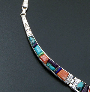 "Supersmith Inc. - David Rosales Designs - 17"" Indian Summer Cobble Inlay & Sterling Silver Triple Panel Omega Necklace #41626 Item 1 Style N155C $900.00"