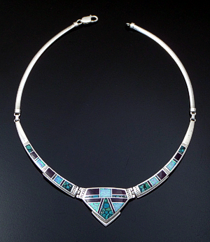 "Supersmith Inc. - David Rosales Designs - 17"" Shalako Inlay & Sterling Silver Center Shield Omega Panel Necklace #41628 Item 1 Style N154 $820.00"