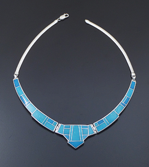 "Supersmith Inc. - David Rosales Designs - 16"" Arizona Blue Inlay & Sterling Silver Large Triple Panel Omega Necklace #41629 Item 3 Style N157 $855.00"