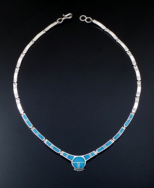 "Supersmith Inc. - David Rosales Designs - 18"" Arizona Blue Inlay & Sterling Silver Bracket Link Necklace #41629 Item 6 Style N112 $775.00"