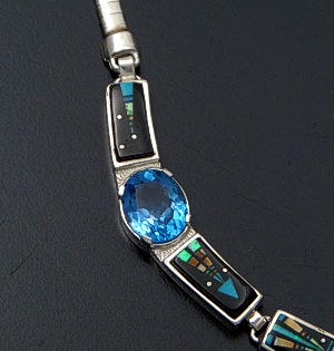 "Supersmith Inc. - David Rosales Designs - 17"" Twilight Kachina Pictorial Inlay, Blue Topaz, & Sterling Silver Omega Panel Necklace #41630 Item 2 Style N0543G $1,105.00"