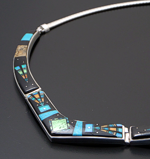 "Supersmith Inc. - David Rosales Designs - 17"" Twilight Kachina Pictorial Inlay & Sterling Silver Omega Panel Necklace #41630 Item 9 Style N155M $1,260.00"
