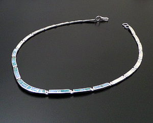 "Supersmith Inc. - David Rosales Designs - 18"" Amazing Light Inlay & Sterling Silver Bracket Link Necklace #41631 Item 4 Style N110 $690.00"