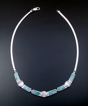 "Supersmith Inc. - David Rosales Designs - 18"" Amazing Light Inlay, CZ, & Sterling Silver Triple Panel Omega Necklace #41631 Item 5 Style N0543 $655.00"