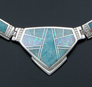 "Supersmith Inc. - David Rosales Designs - 17"" Amazing Light Inlay & Sterling Silver Center Shield Omega Necklace #41631 Item 6 Style N154 $820.00"