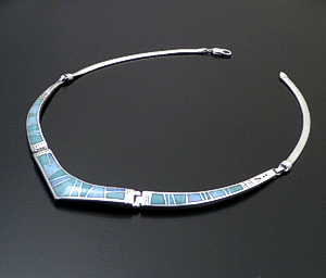 "Supersmith Inc. - David Rosales Designs - 18"" Amazing Light Inlay & Sterling Silver Triple Panel Omega Necklace #41631 Item 7 Style N155 $725.00"