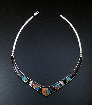 "Supersmith Inc. - David Rosales Designs - 16"" Twilight Pueblo Pictorial Inlay & Sterling Silver Omega Panel Necklace #41647 Style N155M $1,200.00"