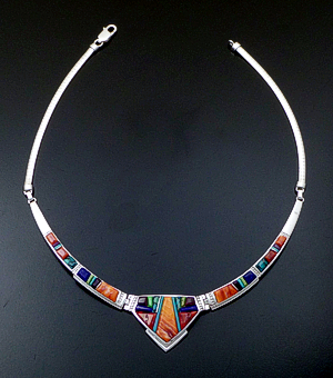"Supersmith Inc. - David Rosales Designs - 17"" Indian Summer Cobble Inlay & Sterling Silver Center Shield Omega Necklace #41648 Style N154C $970.00"
