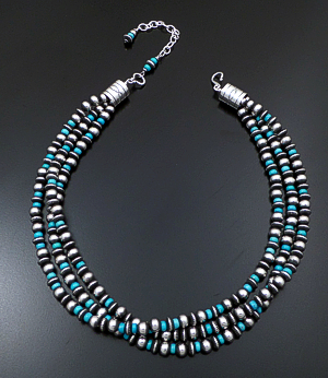 "Marilyn Platero & Geneva Apachito (Navajo) - 18"" to 20.5"" Triple Strand Turquoise & Mixed 7mm Burnished Sterling Silver Bead Necklace #41765 $600.00"