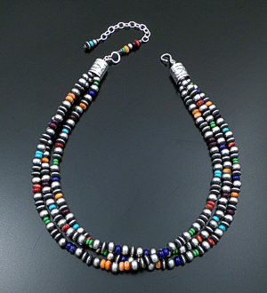 "Marilyn Platero & Geneva Apachito (Navajo) - 18"" to 21.5"" Triple Strand Multistone & Mixed 7mm Burnished Sterling Silver Bead Necklace #41768 $600.00"