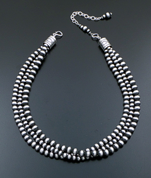 "Marilyn Platero & Tsosie Orville White (Navajo) - 18"" to 21.5"" Triple Strand Navajo Pearl Mixed Burnished Sterling Silver Bead Necklace #41813 $525.00"