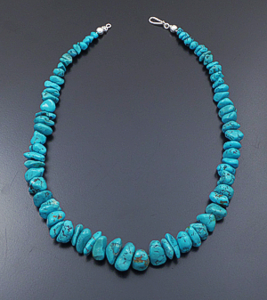 "Castle Gap Designs - 19"" Graduated Chinese Turquoise Nugget Necklace #41899 $180.00"