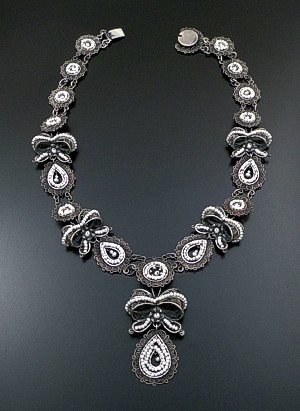 "Federico - 19"" Oaxacan Freshwater Pearl & Oxidized Sterling Silver Bow & Lace Necklace #42148 $2,160.00"