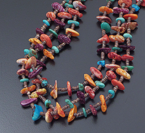 "Santo Domingo - 30"" Triple Strand Turquoise, Multi Color Shell, & Heishi Bead Necklace #42407 $340.00"