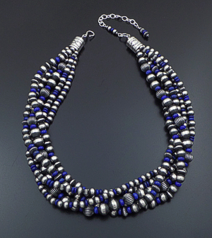 "Geneva Apachito & Marilyn Platero (Navajo) - 19.5"" to 23"" Five Strand Lapis Lazuli & Burnished Sterling Silver Bead Necklace #42537 $1,080.00"