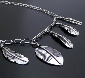 "Joe Mace (Navajo) - 19"" Seven Feather Sterling Silver Chain Necklace #42626 $210.00"