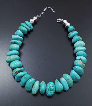 "Laura Aguilar (Santo Domingo) - 17"" to 20"" Large Turquoise Boulder & Sterling Silver Necklace #42795 $450.00"