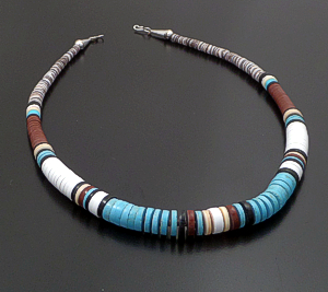 "Reyes Garcia (Santo Domingo) - 19"" Graduated Multistone Heishi Necklace #42800 $120.00"