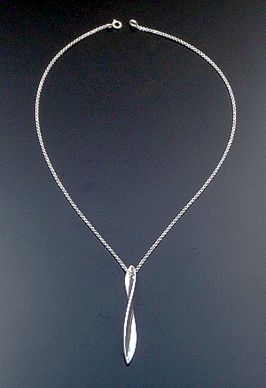 "Zina - 17"" Sterling Silver Long Ribbon Twist Pendant Necklace #42851 $180.00"