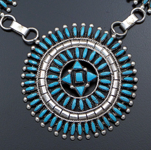 "Evonne Hustito (Zuni) - 29"" Turquoise Needlepoint Cluster Medallion Sterling Silver Necklace #42887 #6 $1,800.00"