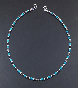 "Marilyn Platero (Navajo) - 16"" Turquoise & 4mm Burnished Sterling Silver Bead Necklace #42946 $125.00"