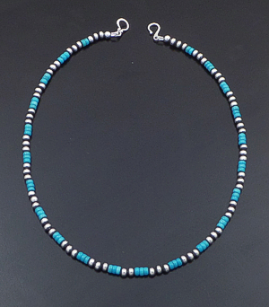 "Marilyn Platero (Navajo) - 16"" Turquoise & 4mm Burnished Sterling Silver Bead Necklace #42949 $125.00"