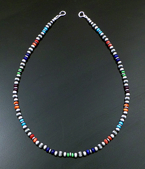 "Marilyn Platero (Navajo) - 16"" Multistone & 5mm Burnished Sterling Silver Bead Necklace #42960 $160.00"