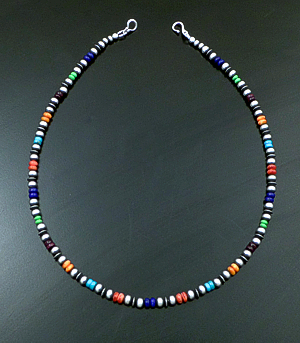 "Marilyn Platero (Navajo) - 16"" Multistone & 5mm Burnished Sterling Silver Bead Necklace #42961 $160.00"