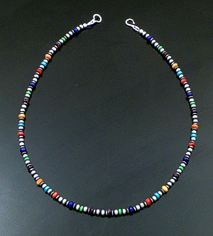 "Marilyn Platero (Navajo) - 18"" Multistone & 4mm Burnished Sterling Silver Bead Necklace #42962 $150.00"
