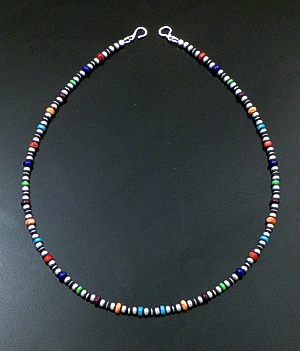"Marilyn Platero (Navajo) - 18"" Multistone & 4mm Burnished Sterling Silver Bead Necklace #42963 $150.00"