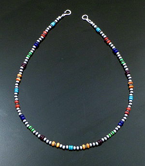 "Marilyn Platero (Navajo) - 18"" Multistone & 4mm Burnished Sterling Silver Bead Necklace #42966 $150.00"