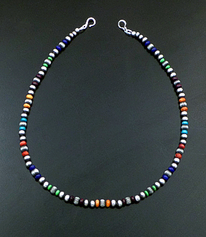"Marilyn Platero (Navajo) - 16"" Multistone & 5mm Burnished Sterling Silver Bead Necklace #42970 $150.00"