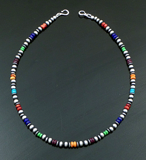 "Marilyn Platero (Navajo) - 16"" Multistone & 5mm Burnished Sterling Silver Bead Necklace #42973 $150.00"