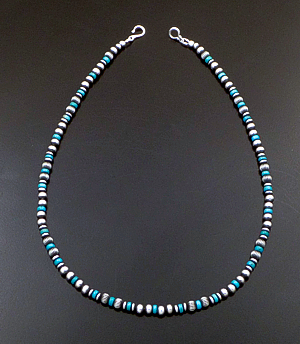 "Marilyn Platero (Navajo) - 18"" Turquoise & 5mm Burnished Sterling Silver Bead Necklace #42988 $150.00"