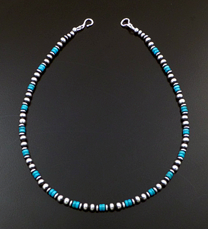"Marilyn Platero (Navajo) - 16"" Turquoise & 5mm Burnished Sterling Silver Bead Necklace #42990 $140.00"