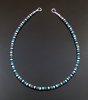"Marilyn Platero (Navajo) - 16"" Turquoise & 5mm Burnished Sterling Silver Bead Necklace #42994 $140.00"