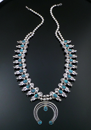 "Doris Smallcanyon (Navajo) - 28"" Kingman Turquoise & Sterling Silver Stamped Squash Blossom Necklace #43122 Item 1 $1,575.00"