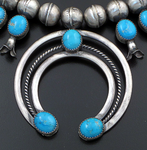 "Leon Kurley (Navajo) - 26"" Kingman Turquoise & Burnished Sterling Silver Squash Blossom Necklace #43122 Item 3 $1,950.00"