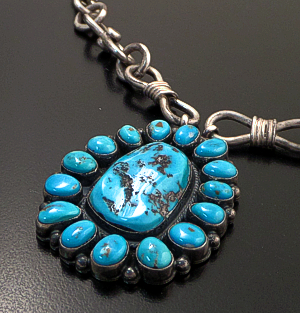 "Andy Cadman (Navajo) - 34"" Kingman Turquoise Cluster Pendant & Sterling Silver Handmade Chain Necklace #43122 Item 4 $1,575.00"