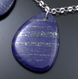 "Castle Gap Designs - 19"" Golden Night Sky Large Lapis Lazuli & Sterling Silver Triple Pendant Necklace #43195 $250.00"