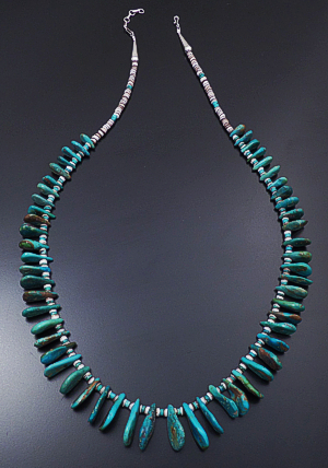 "Helen Tsosie (Santo Domingo) - 28"" to 30"" Graduated Green Turquoise Tabs & Shell Heishi Necklace #43203F $369.00"