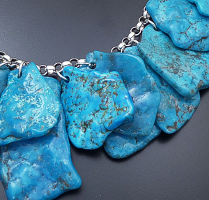 "Castle Gap Jewelry Designs - 18"" Slab Cut Sleeping Beauty Turquoise & Sterling Silver Necklace #43261 $1,495.00"