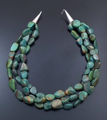 "Navajo - 18"" Three Strand Large Green Turquoise Nugget Necklace #43529 $165.00"