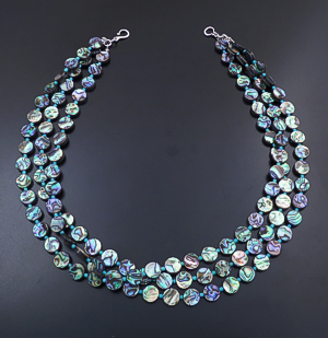 "Castle Gap Designs - 20"" Triple Strand Abalone Shell Disk & Turquoise Barrel Bead Necklace #43784 $175.00"