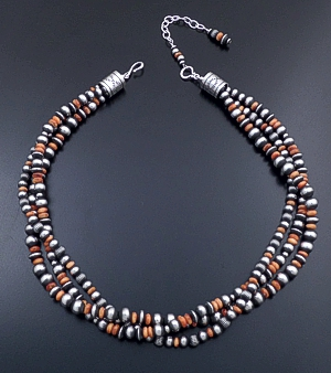 "Geneva Apachito & Marilyn Platero (Navajo) - 20"" to 23"" Triple Strand Orange Shell & Mixed Burnished Sterling Silver Bead Necklace #44394 $600.00"